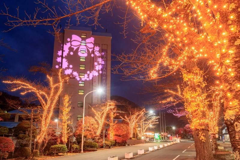 街路樹イルミネーション&ライトアップ・クリスマスリースライティング
